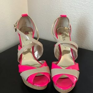 Guess nude & hot pink heels size 8